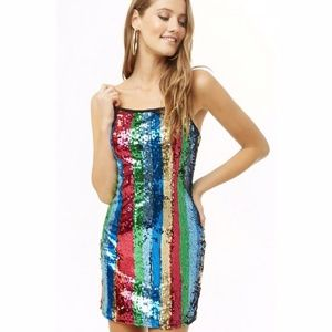 Forever 21 Multicolor Sequin Rainbow Striped Dress